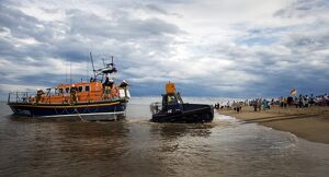 Skegness Mersey class lifeboat Lincolnshire Poacher being launched