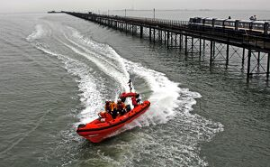 Southend pier and Atlantic 75 inshore lifeboat.
