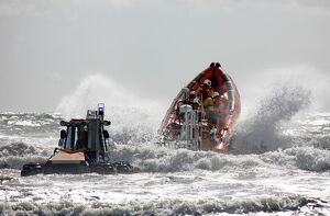 St Bees Atlantic 85 class inshore lifeboat Joy Morris MBE B-831 being launched