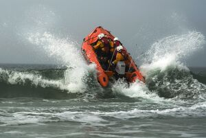 St Ives D class lifeboat in surf