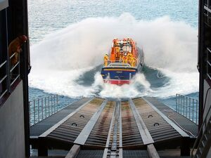 Tamar class lifeboat Peter and Lesley-Jane Nicholson launching a
