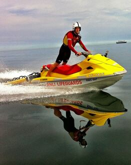 Tynemouth crew member and lifeguard Sam Nicholson onboard a rescue watercraft (RWC)