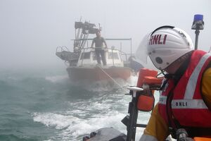 Vessel being towed by the Rye Harbour inshore lifeboat